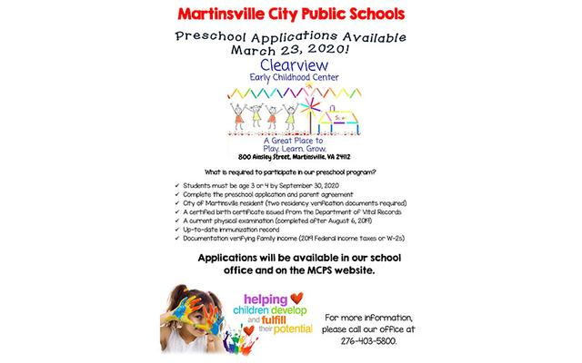 Preschool Applications Available March 23, 2020